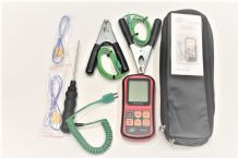 HVAC Thermometer Kit Two Clamp Probes, Liquid Probe, Two Wire Air Probes and Case